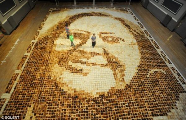 portrait made from toast