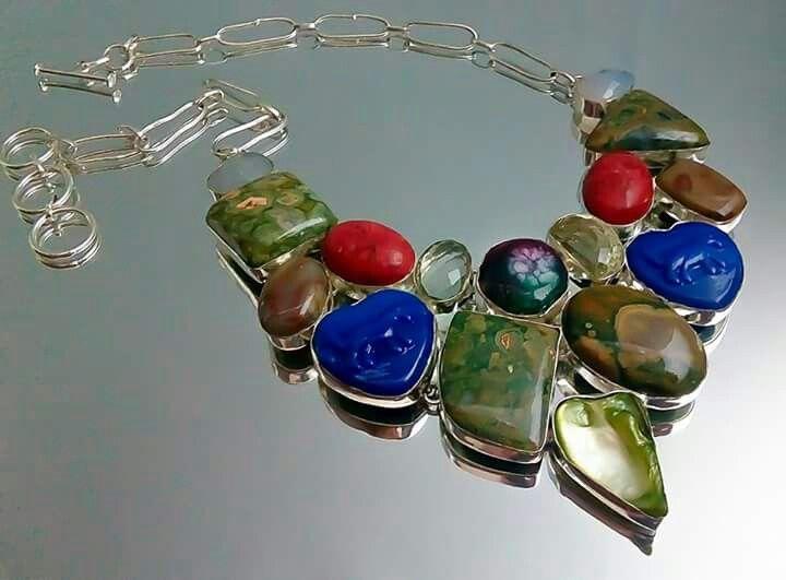 Orlov Jewellery-German Silver,jasp,ametist,coral,peridot