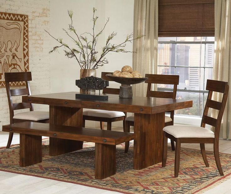the montague 6 piece rustic wood table u0026 chair set with bench bench - Kitchen Table And Chair Sets