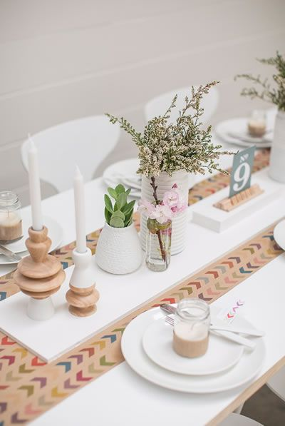 Photo Shoot: All The Frills  Neutral Table Setting  Used Wrapping Paper For  The Table Runner