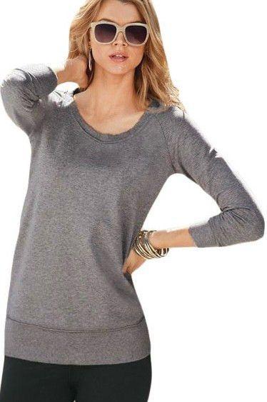 Prix: €14.59 Sweat-shirt Manches Longues Gris Decontracte Femmes Pas Cher www.modebuy.com @Modebuy #Modebuy #Gris #me #femme