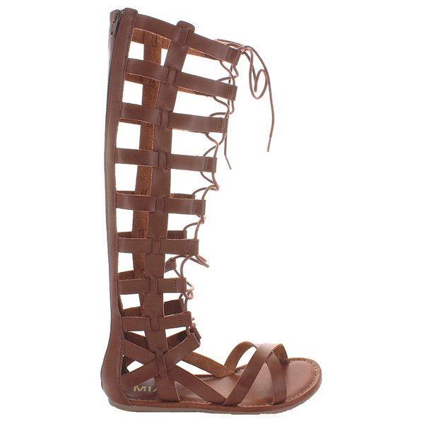 MIA Devi - Cognac Tall Gladiator Flat Sandal