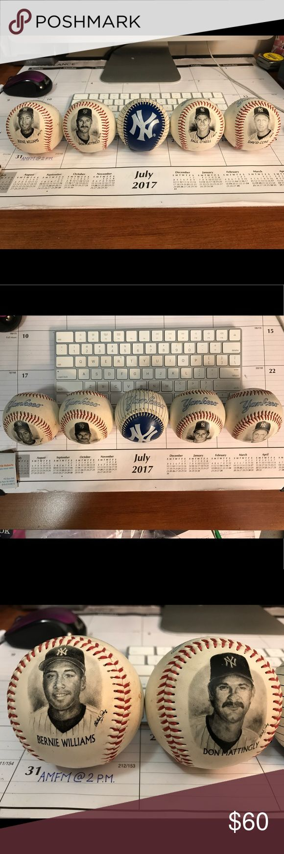 1996 Yankees Burger King Promo Photoball Set this Burger King promo from 1996 is a collection of 5 baseballs with 4 yankees players.  The one ball is white and blue with a large yankees logo on it and the other 4 balls have yankees players Bernie Williams, Don Mattingly, Paul O'Neil, and David Cone.  On the other side of each ball has a biography, stats, and/or important information about each player.  I have the whole set and they are all in excellent condition! Fotoball Other