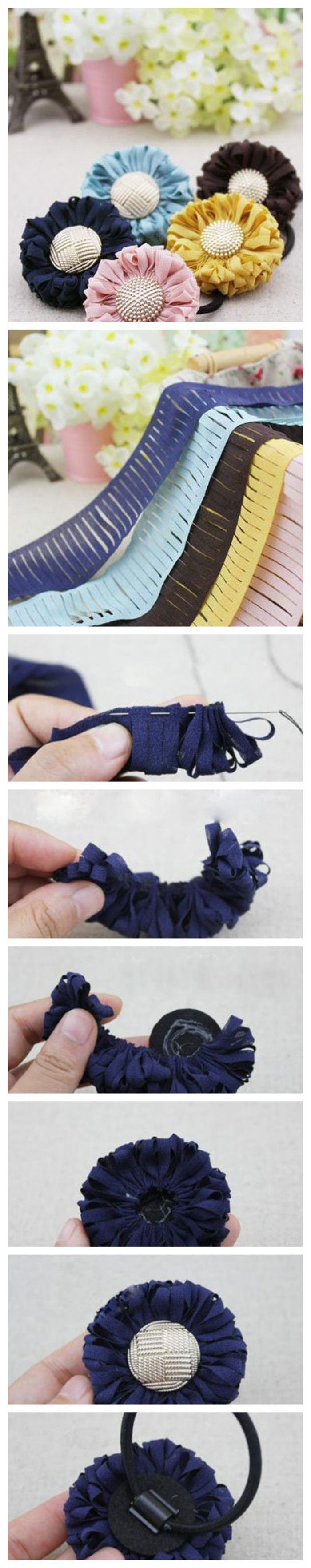 自制可爱的太阳花发圈的方法图解 材料:不织布 剪刀 针线 胶水 饰物 将不织布剪成如上图所示的样子,中间剪成这样子的一段段。 将布条对折,然后用针线缝起来,针距5mm为佳。 如果想要花朵大一点,可以稍微抽松一点,盘圈大一点;如果想要花朵小一点,可以稍微抽紧一点,盘圈小一点。 想要做大一点的发饰的话,中间孔留大一点;想要做小一点的话,中间孔留小一点。 <br />花朵大一点,搭配25mm扣子;花朵小一点,搭配20mm扣子。图中搭配的是25mm的扣子。 <br />再加上发圈就OK了。
