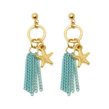 Seabreeze Earrings in Gold/Teal - available in gold and silver.$24.00 Get 25% off these earrings with coupon code 'foxy pin' www.foxyoriginals... #earrings, #goldjewelry, #goldearrings, #foxyoriginals, #sistergift, #statement, #jewelrygift, #holidaygift, #gift, #holidaygift, #summer, #vacation, #beachystyle, #accessories, #teenagergift,