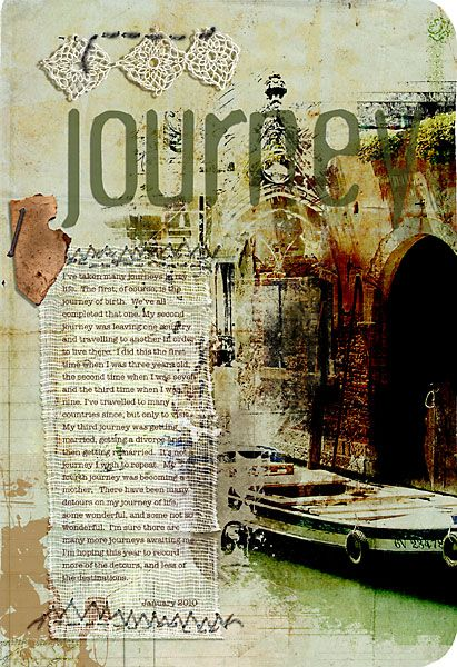 journal page...mix of paper with fabric and lace and stitching