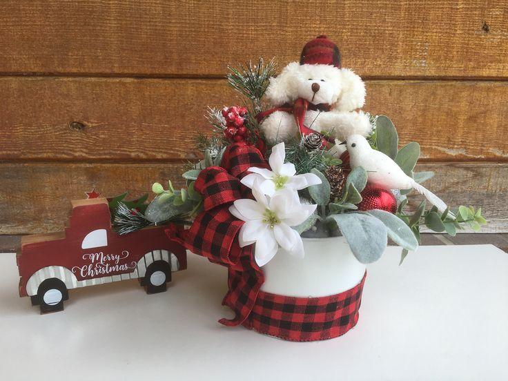 Christmas Bear Flower Arrangement, Christmas Arrangement