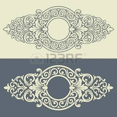 Vector vintage border frame engraving with retro ornament filigree pattern in antique baroque style decorative design photo