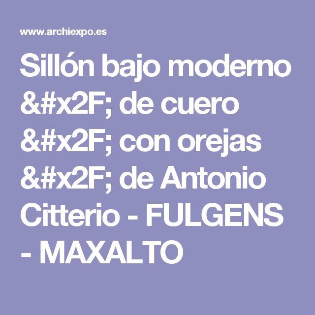 Sillón bajo moderno / de cuero / con orejas / de Antonio Citterio - FULGENS - MAXALTO