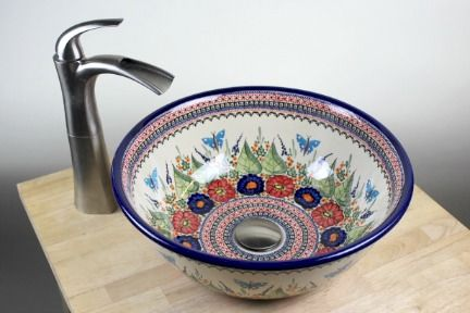 Polish Pottery Floral Butterfly Vessel Sink!  Gorgeous!