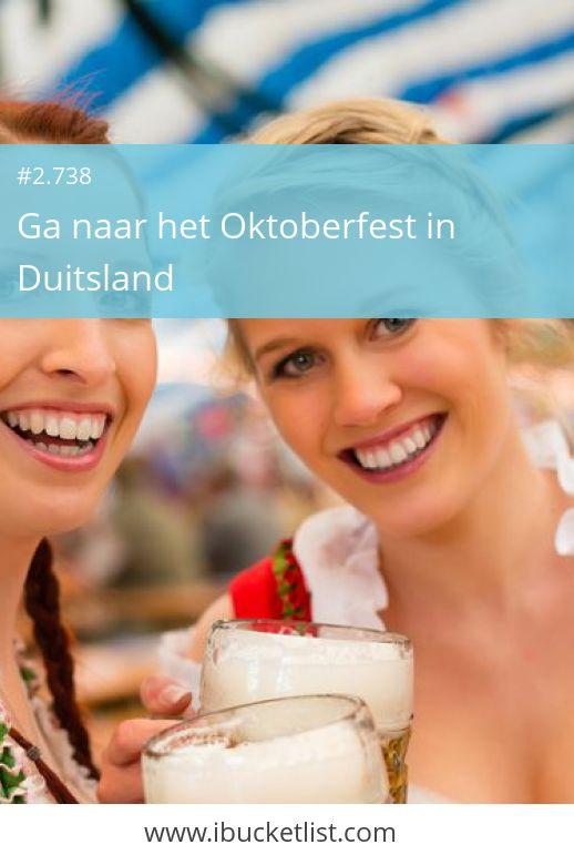 Ga naar het Oktoberfest in Duitsland. De roots van het Oktoberfest gaan meer dan 200 jaar terug in de tijd, maar uiteindelijk gaat het om het typische Duitse bier dat speciaal voor het Oktoberfest wordt gebrouwen. Jaarlijks bezoeken zo'n 6 miljoen feestgangers het legendarische bierfestijn met een liter bier in de ene en een braadworst in de andere hand. Gekleed in dirndls, lederhosen en loferl strompelen de bezoekers over het terrein. Waarom wachten tot later? Maak nu je dromen waar.