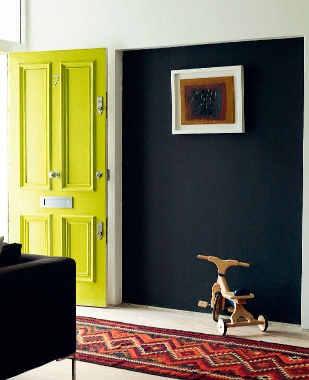 Yellow front door via July 2013 Elle Decoration