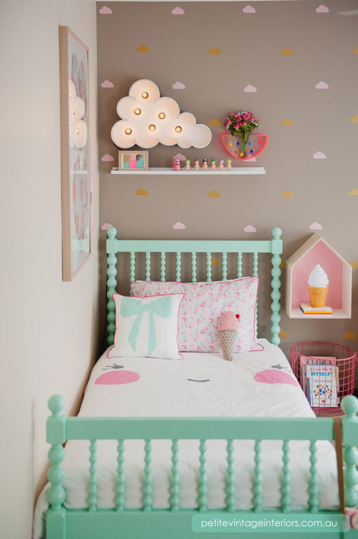 wall decals by Urbanwalls; spindle bed by Incy Interiors available in any colour (Dulux Chlorophyll pictured)