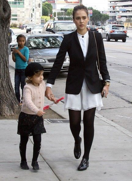 Jessica Alba Flat Oxfords  Jessica Alba maintained her school girl style with a pair of black patent brogues.  Jessica Alba Day Dress  Jessica Alba wore a white airy dress with her black-and-white ensemble for her Sunday brunch.