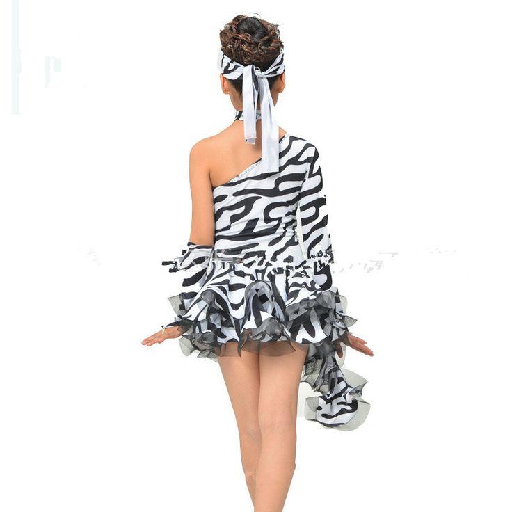 Ребенок взрослый латинский танец костюм зебры единого рукавами латинский танец dressAdult детей латинский танец конкурс платья s-Размер 4xl