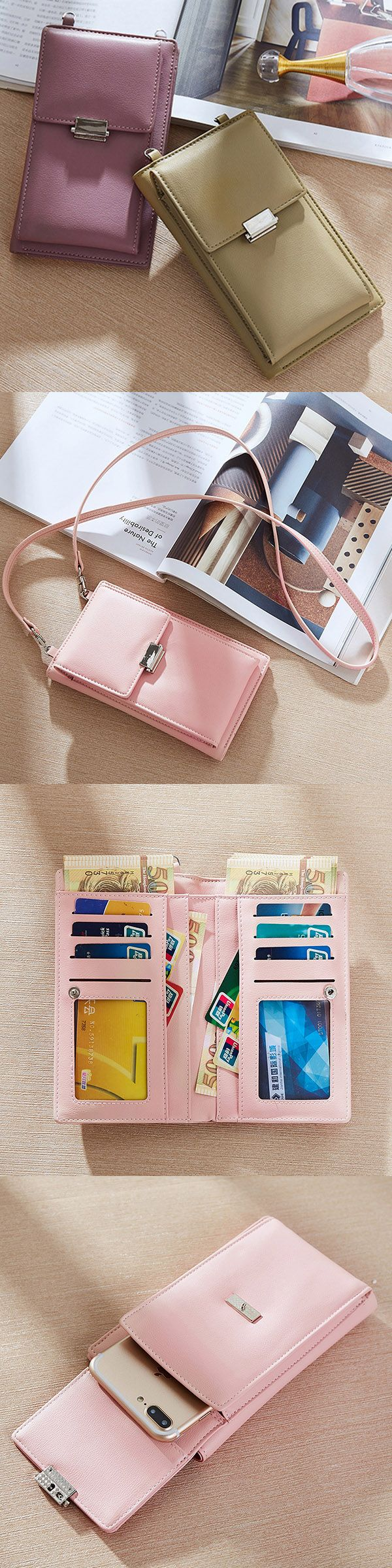 US$15.72  Candy Color Phone Bag Wallet Crossbody Bag Shoulder Bags Purse For Women