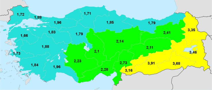 Turkey total fertility rate by statistical region 2014