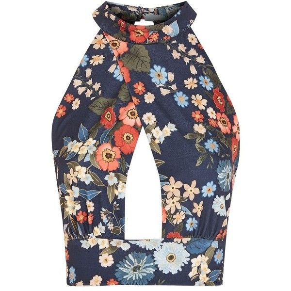 Floral Crossover Top by Love ($36) ❤ liked on Polyvore featuring tops, navy blue, strappy top, navy blue top, high neck top, flower print tops and floral print tops
