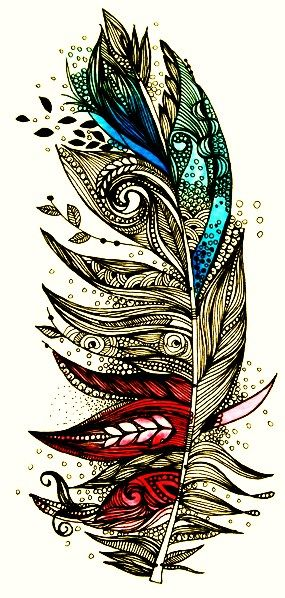 pen and ink stylised feather