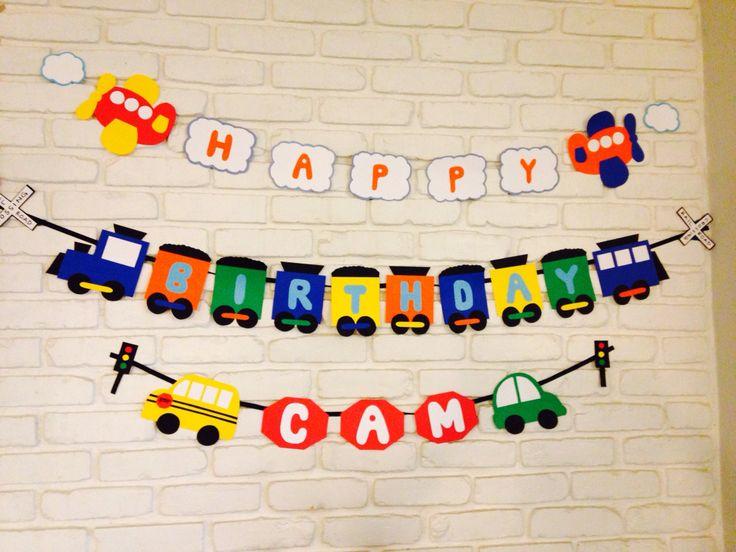 Transportation theme birthday party banner.