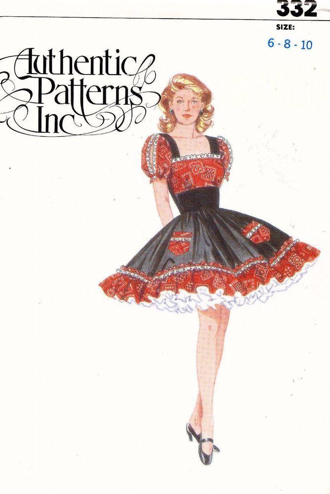 1980's VTG Authentic Square Dance Dress Pattern 332 Size 6-10 UNCUT