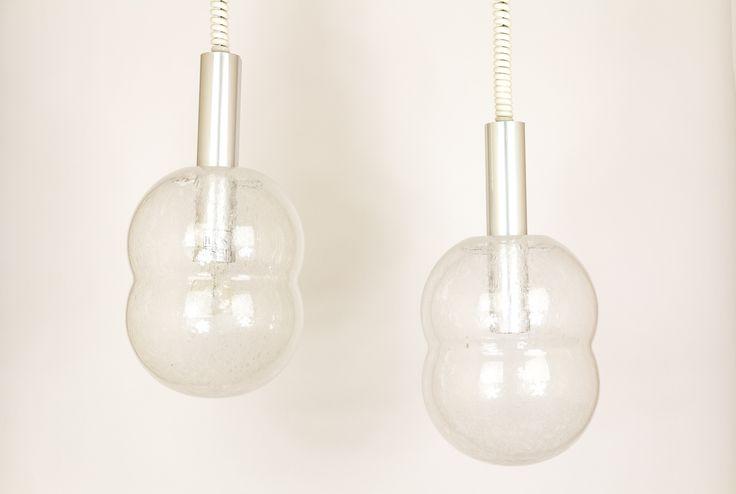 Pair of Bilobo glass pendants by Afra & Tobia Scarpa for Flos.