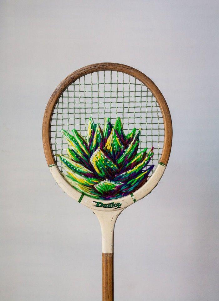 Danielle Clough - embroidered vintage tennis racket
