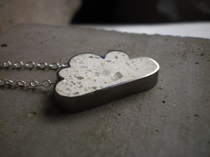 I'd never imagine making a pendant using terrazzo flooring techniques, but i'm glad someone did!   (concrete cloud from Etsy)