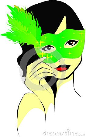 Colored vector illustration of a curly-haired woman who holds a green feathered mask in hand.