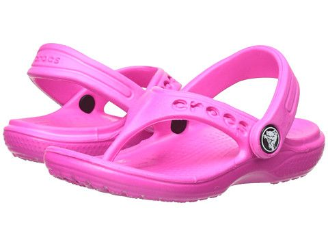 Crocs Kids Baya Flip (Toddler/Little Kid) Neon Magenta - 6pm.com