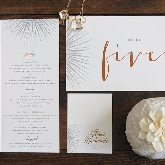 Wedding Table Number Beam Art Deco by Pink Umbrella Designs