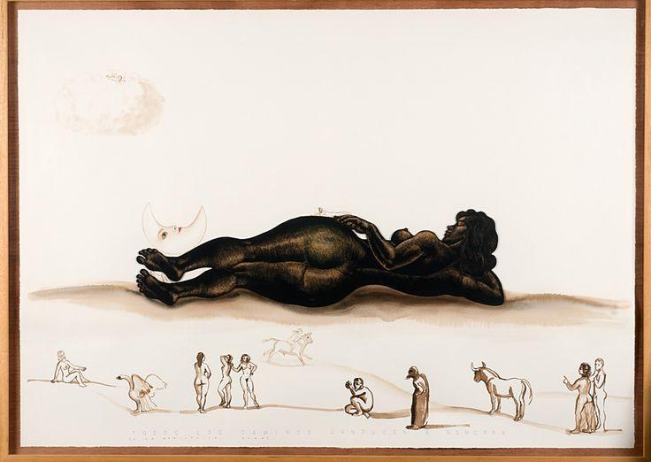 TODOS LOS CAMINOS CONDUCEN A GOMORRA. 88 x 122 cm. Demegrafía, nogalina y papel.  2.500 €