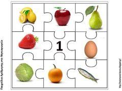 Puzzelen met hoeveelheden voedsel. De kinderen leren het aantal objecten te herkennen. Voorbereiding op het rekenen. Puzzel van het getal 1.
