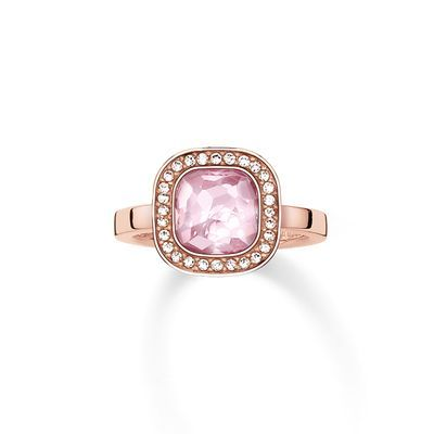 thomas sabo sterling silver ring, pink synthetic corundum and zirkonia, TR2029-633-9,