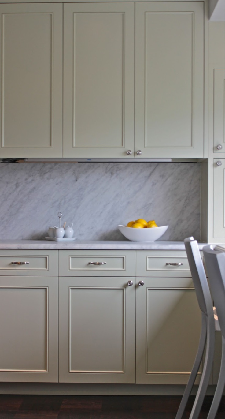"""cabinets painted in """"Soft Fern"""" from Benjamin Moore ..."""