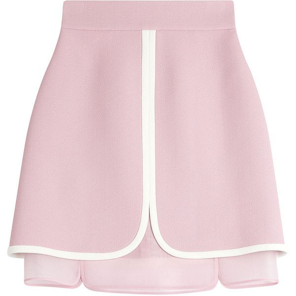 The layered finish of this Giambattista Valli skirt is modern and sharp, adding a contemporary feel to the sugar pink hue and chic crepe fabric. An insert of s…