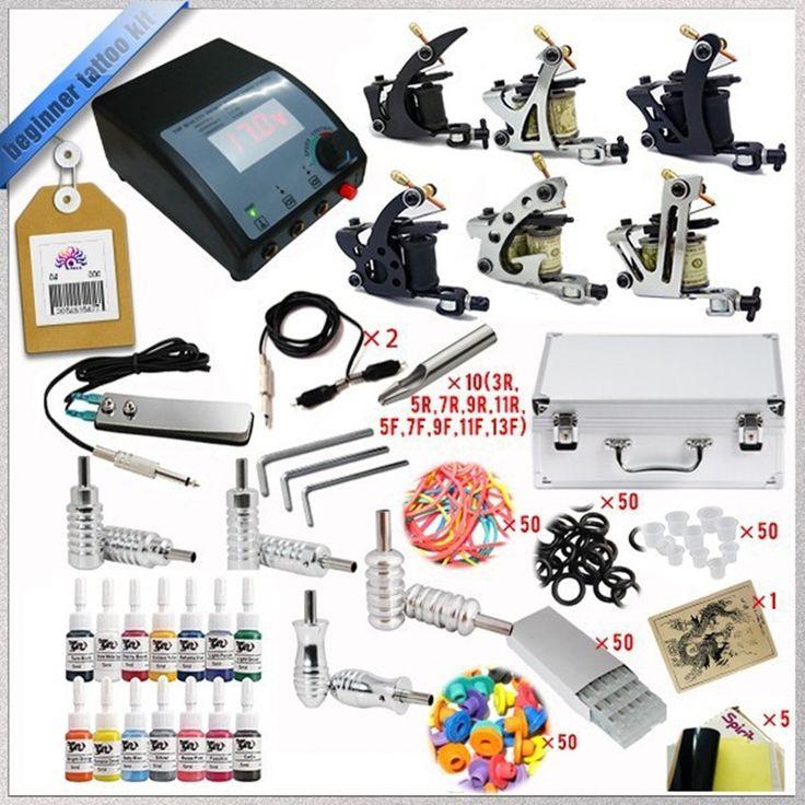 67.18$  Buy now - http://alirrt.worldwells.pw/go.php?t=32425504838 - Cheap-tattoo-machines Complete Tattoo Kit  Guns wrap coils guns machine  tattoo ink sets power supply  maquillaje permanente