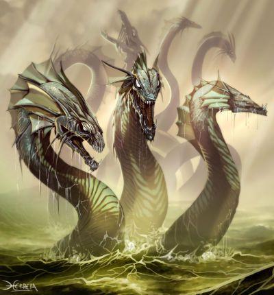 La hidra es un monstruo gigante que tiene apariencia reptiliana y múltiples cabezas.