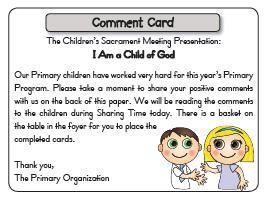 Comment Cards for the Children's Sacrament Meeting Program