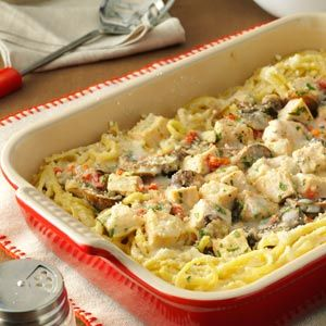 Creamy Turkey Tetrazzini - love this! i use 1/2  1/2 instead of cream, no mushrooms and i mix everything together before baking (instead of making a well in the middle)- super creamy and yummy!
