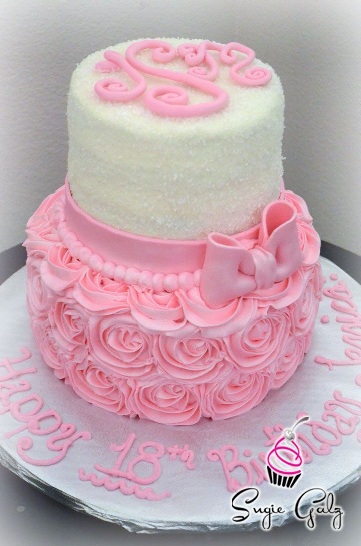 Pink Rose Buttercream Birthday Cake Cake with Sugar Crystals and Fondant Details by Sugie Galz in Austin Texas