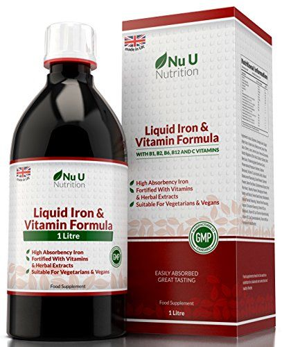 Liquid Iron Supplement 1 Litre 50 Days Supply Fortified With Vitamins And Herbal Extracts Includes Vitamin B2 B6 B12 And Vitamin C Great Tasting Vegetarian & Vegan Liquid Iron By Nu U Nutrition