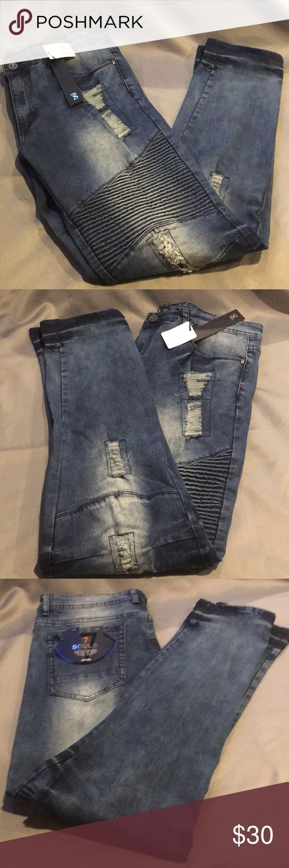 NWT 7 Souls Dark Blue Jeans NWT 7 Souls Dark Blue Jeans. Size 34/34. 5 pockets. They have the torn and stitched look. Checkout my other listings and add to a bundle to save! 7 Souls Jeans Straight