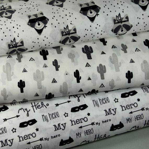 """tissu imprimé graphique """"cactus"""" 100% coton fond  blanc"""