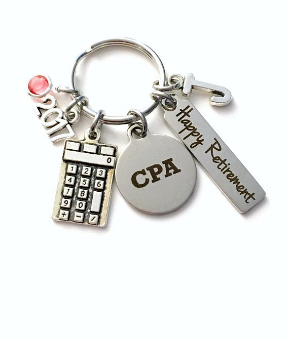 CPA Retirement Present, 2017 2018 Accountant Keychain Gift for Chartered Professional Accounting Retire, Key Chain him her women Calculator This key chain listing includes: - a stainless steel silver laser engraved CPA charm: 3/4 x 7/8** - an antique silver calculator charm: 7/8 x