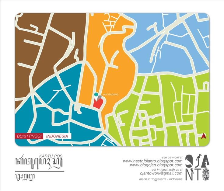 Indonesian City Maps Postcard Series (January 2013) | Bukittinggi - Indonesia | special spot : Jam Gadang | Postcard Design by Ojan