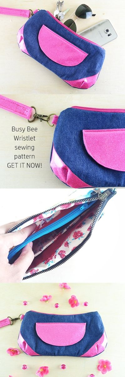 Busy Bee Wristlet PDF sewing pattern | purse sewing patterns | sewing for beginners