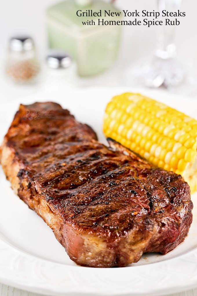 Tender, juicy, and flavorful Grilled New York Strip Steaks with Homemade Spice Rub. They are a real treat for a weekend barbecue! | RotiNRice.com
