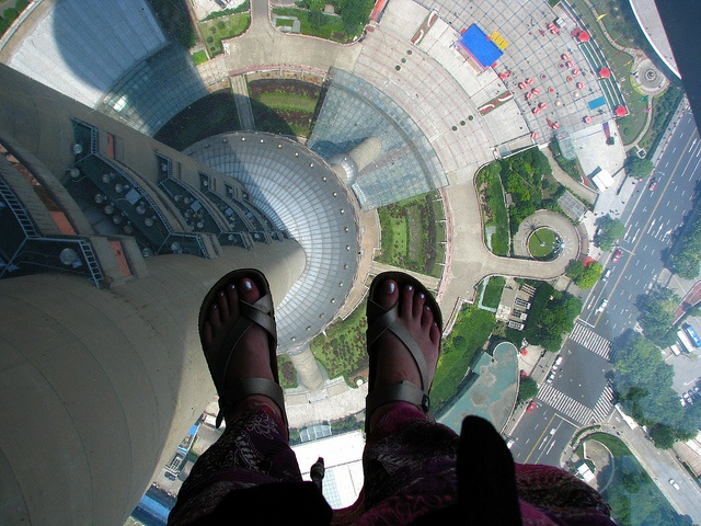 Oriental pearl tv tower glass sky walk