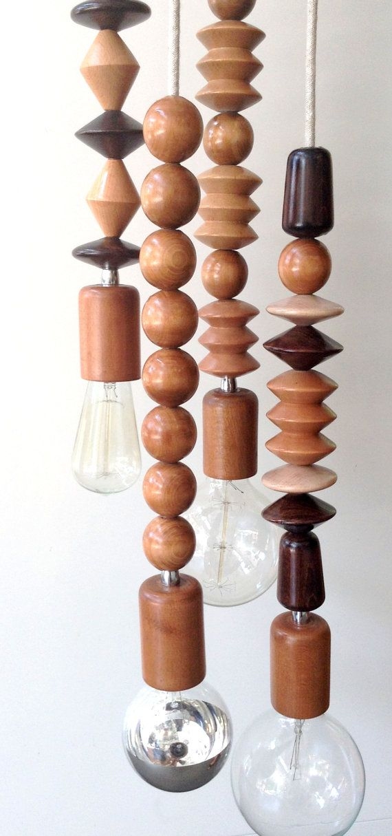 minimal industrial cable wooden bead necklace quadruple pendant in many many textile cables hand crafted wooden canopy and bulb holder in natural - Light Hardwood Canopy 2016
